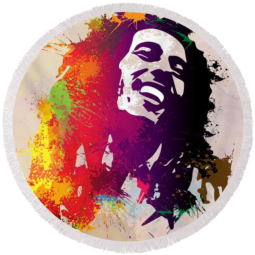 Reggae Round Beach Towel featuring the painting Nesta Robert by Anthony Mwangi