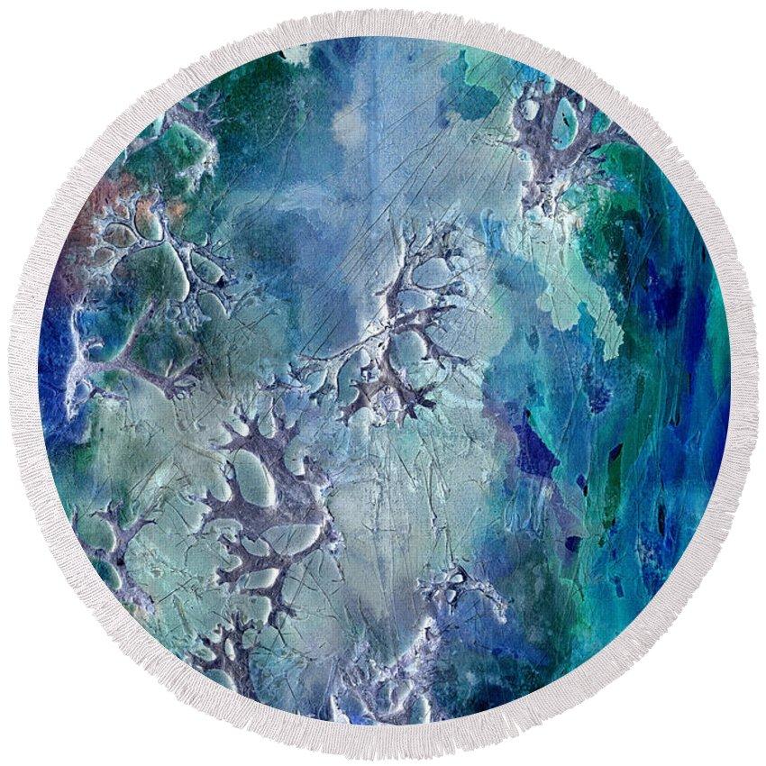Abstract Round Beach Towel featuring the painting Neuronal Lunar Essence by Cristina Handrabur