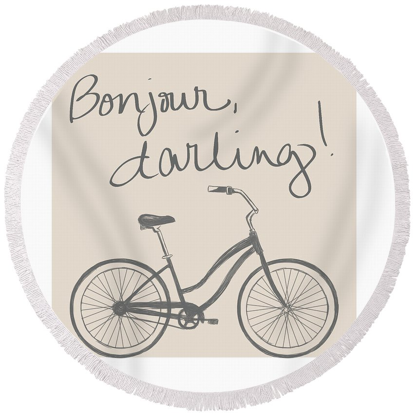 Neutral Round Beach Towel featuring the mixed media Neutral Glam Bike by South Social Studio