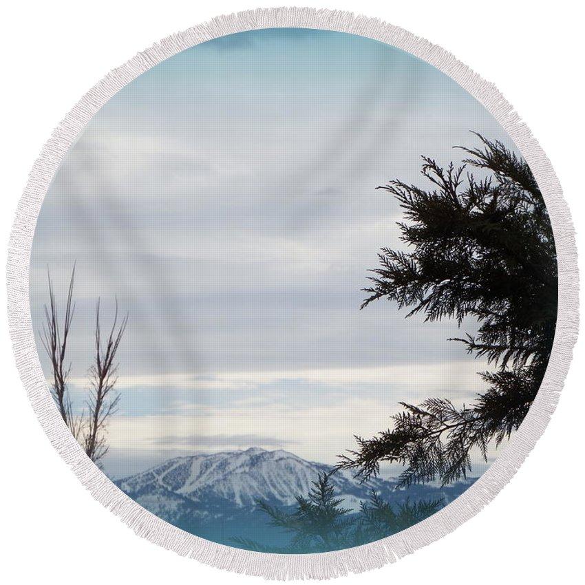 Acrylic Prints Round Beach Towel featuring the photograph Nevada Blue by Bobbee Rickard
