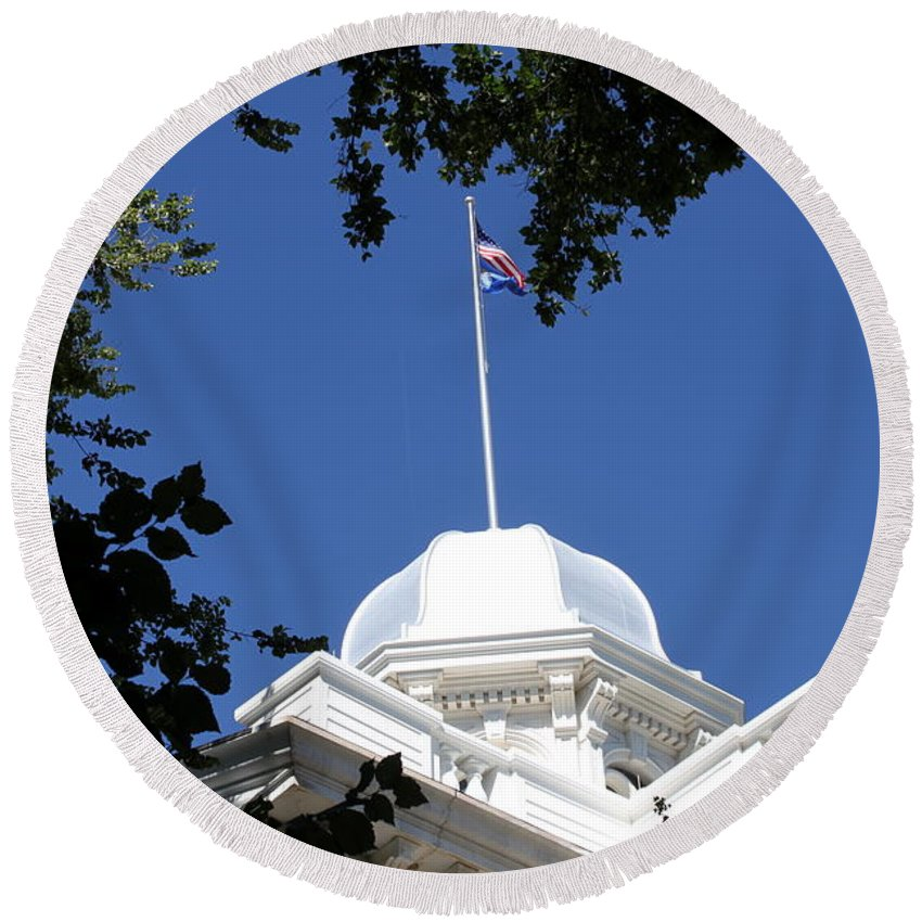 Nevada Round Beach Towel featuring the photograph Nevada State Capitol by Donna Jackson