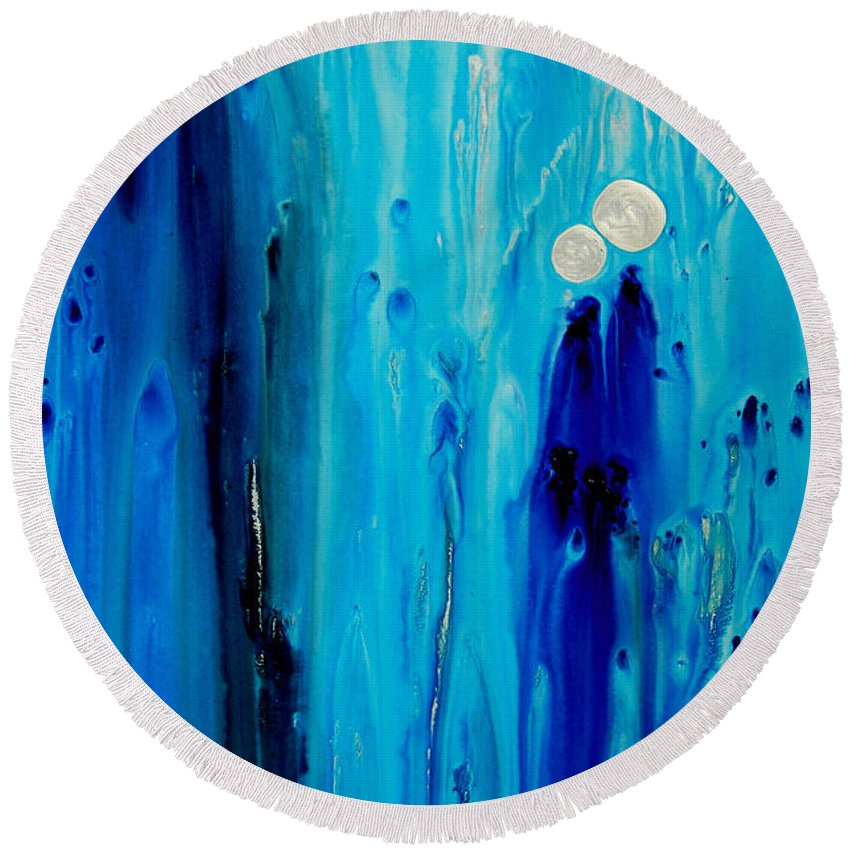 Blue Round Beach Towel featuring the painting Never Alone By Sharon Cummings by Sharon Cummings