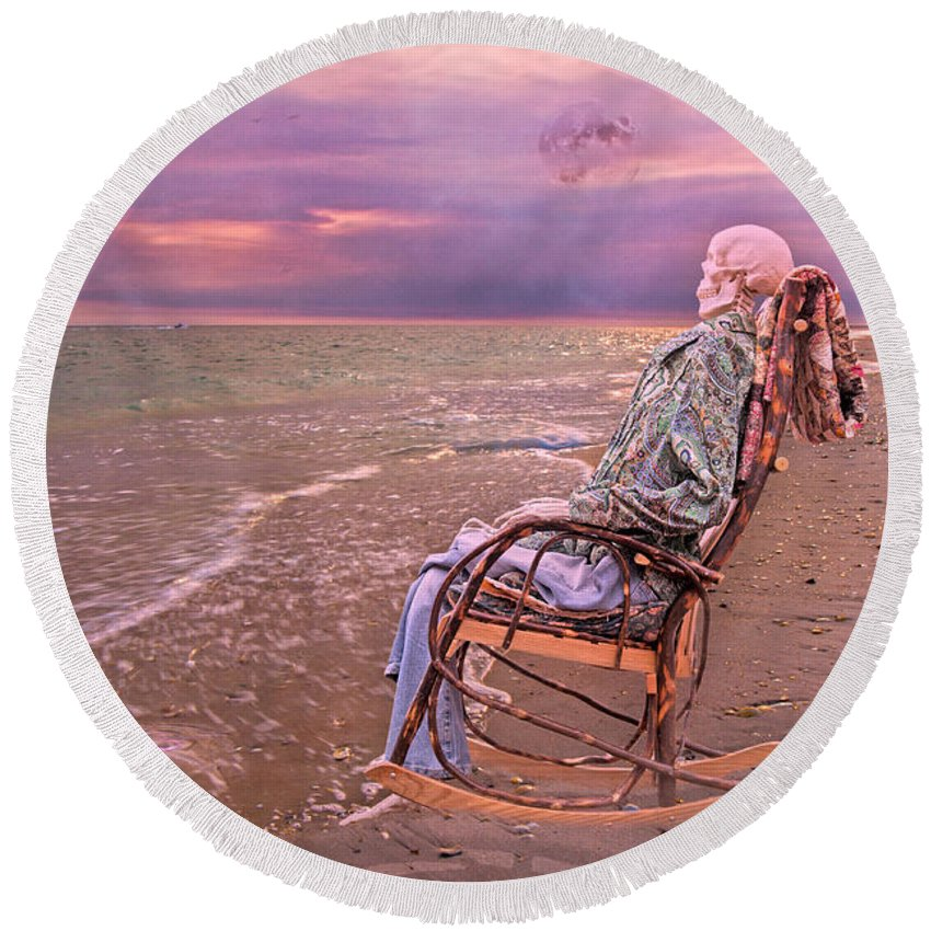 Human Round Beach Towel featuring the photograph Never Let Fear Decide Your Fate by Betsy Knapp