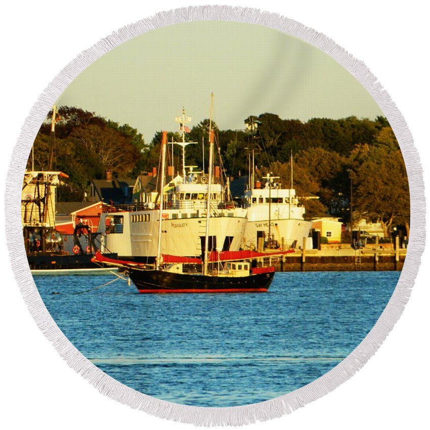 New Round Beach Towel featuring the photograph New Bedford Massachusetts 2 by Andrea Anderegg