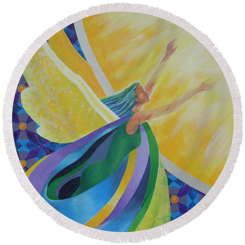 Angel Round Beach Towel featuring the painting New Beginnings by Tonya Henderson