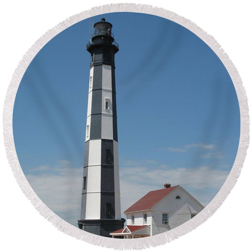 Lighthouse Round Beach Towel featuring the photograph New Cape Henry Lighthouse by Christiane Schulze Art And Photography