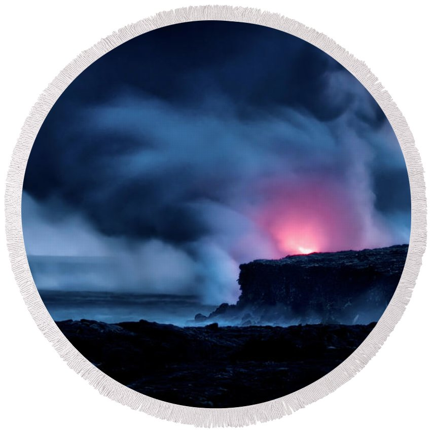 Pu'u 'o'o Round Beach Towel featuring the photograph New Earth by Jim Thompson