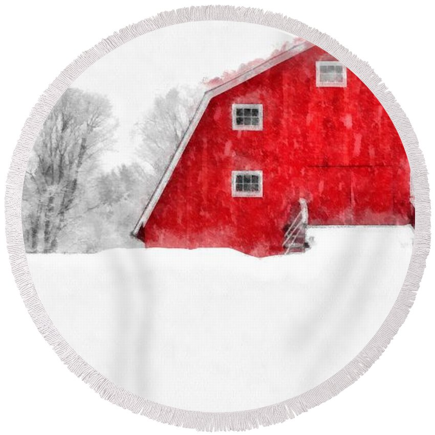 Etna Round Beach Towel featuring the photograph New England Red Barn In Winter Snow Storm Watercolor by Edward Fielding