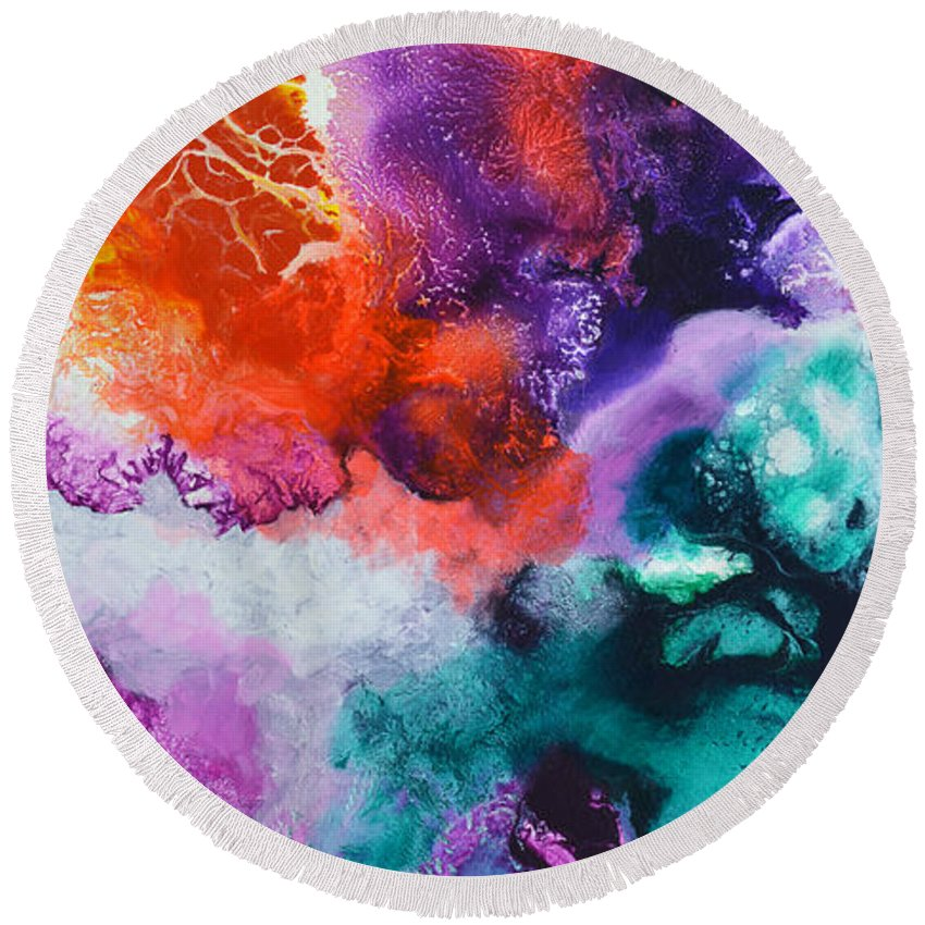 Fluid Round Beach Towel featuring the painting New Freedom Canvas One by Sally Trace