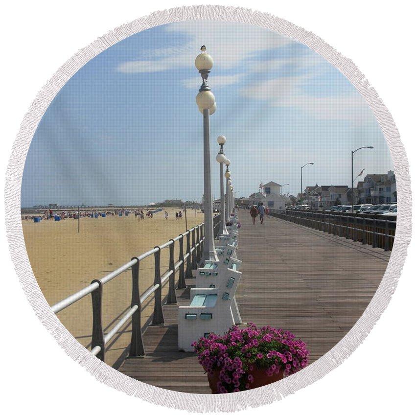 Boardwalk Round Beach Towel featuring the photograph New Jersey Boardwalk by Laura Corebello