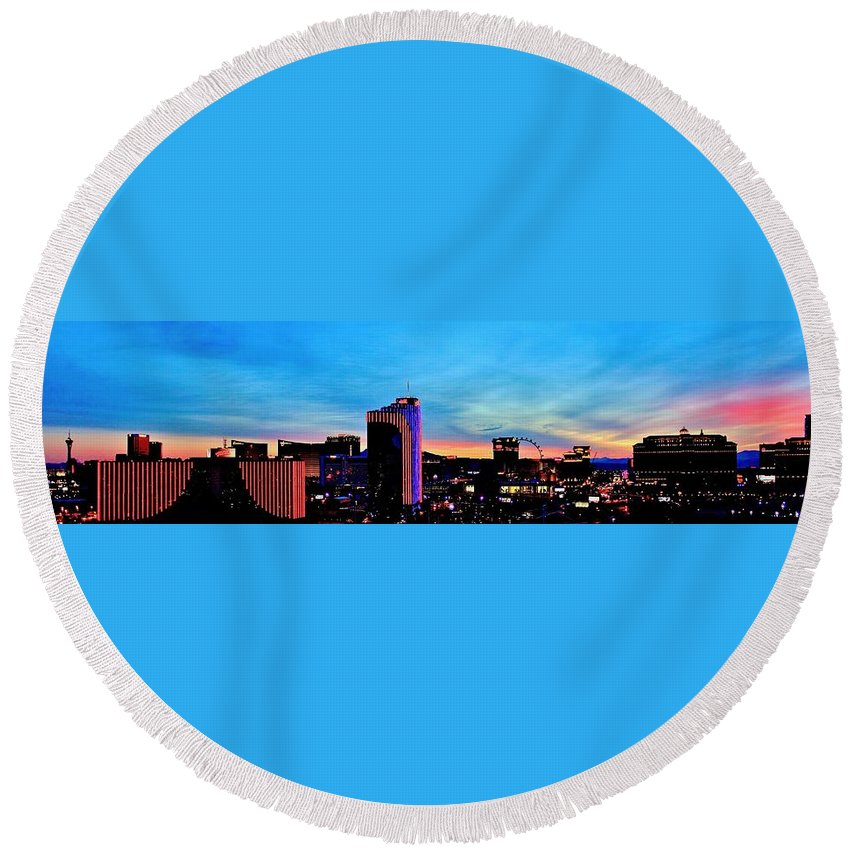 Las Vegas Round Beach Towel featuring the photograph New Las Vegas Day by Benjamin Yeager