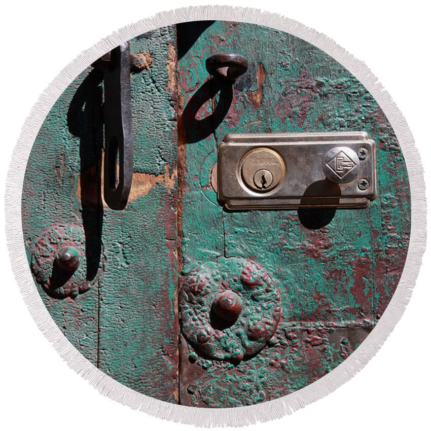 Door Round Beach Towel featuring the photograph New Lock On Old Door 3 by James Brunker