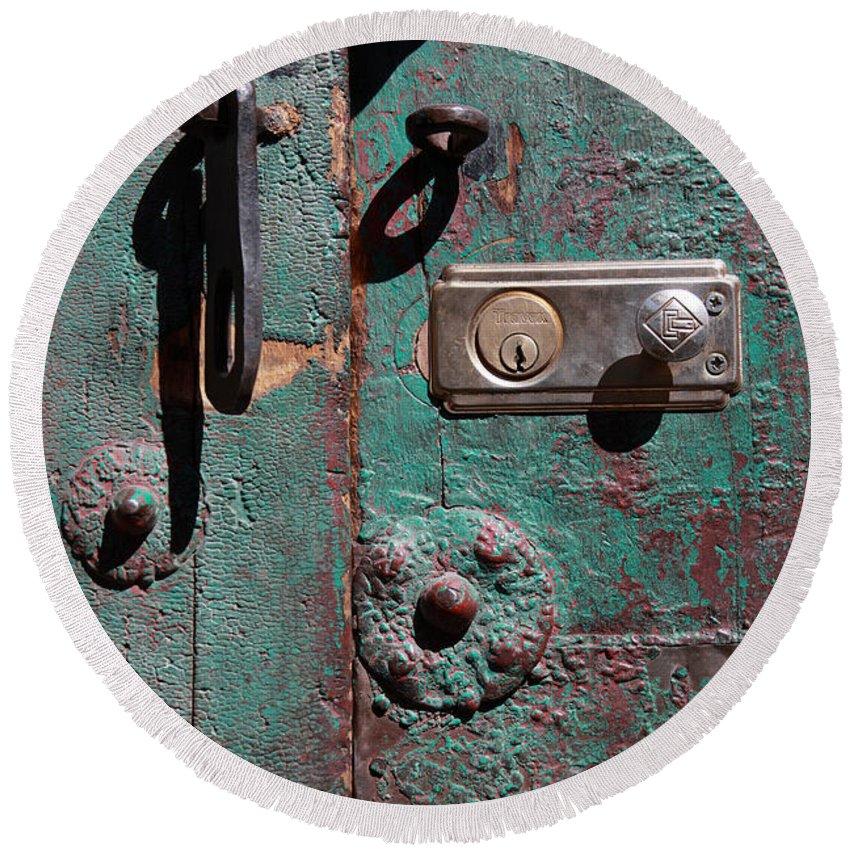 Door Round Beach Towel featuring the photograph New Lock On Old Door 3 by James Brunker