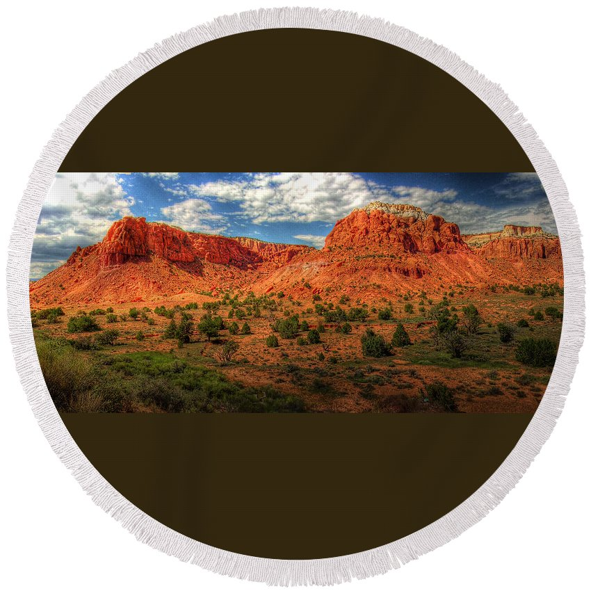 Hdr Round Beach Towel featuring the photograph New Mexico Mountains 2 by Timothy Bischoff