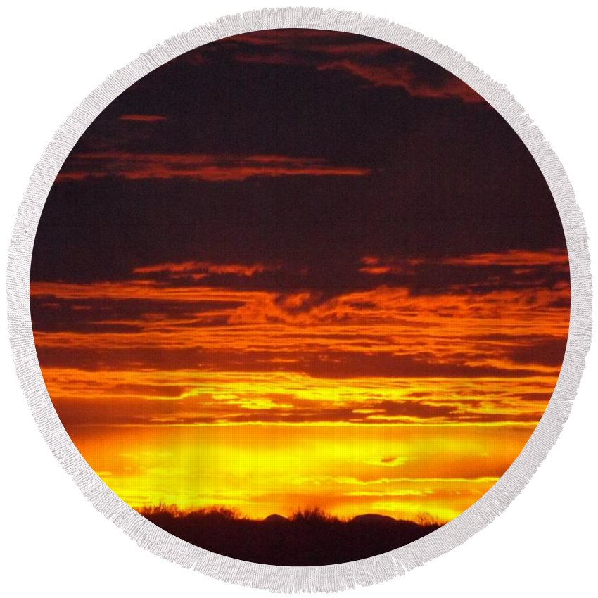 Sunset Round Beach Towel featuring the digital art New Mexico Sunset by Ana Thompson