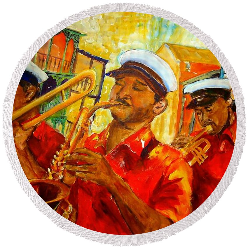 New Orleans Round Beach Towel featuring the painting New Orleans Brass Band by Diane Millsap