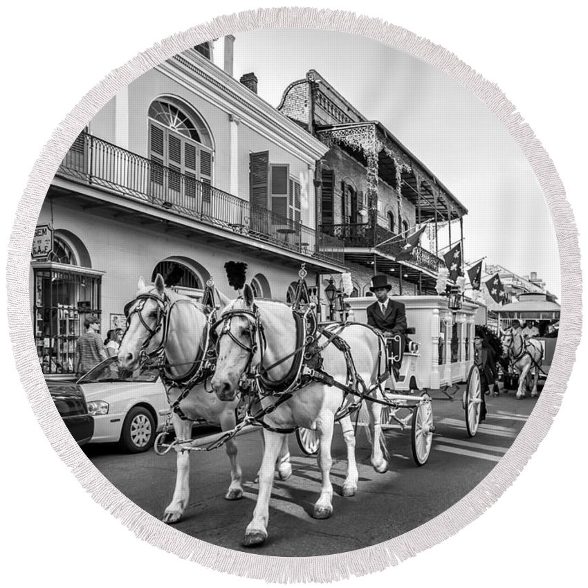 French Quarter Round Beach Towel featuring the photograph New Orleans Funeral Monochrome by Steve Harrington