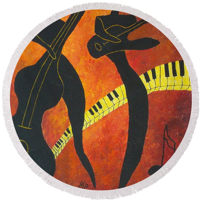 Allegretto Art Round Beach Towel featuring the painting New Orleans Jazz by Pamela Allegretto