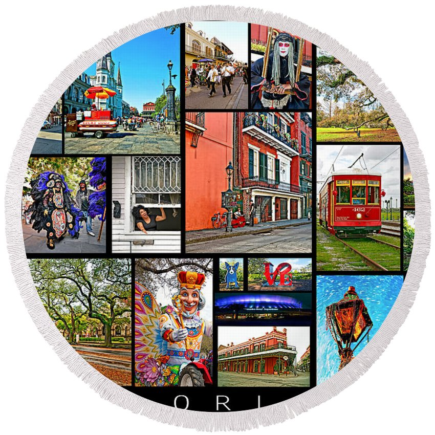 New Orleans Round Beach Towel featuring the photograph New Orleans by Steve Harrington