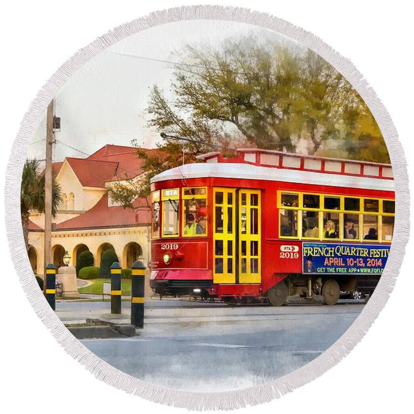 Canal Street Round Beach Towel featuring the photograph New Orleans Streetcar Paint by Steve Harrington