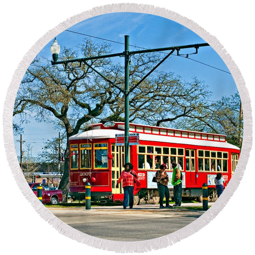 New Orleans Round Beach Towel featuring the photograph New Orleans Streetcar by Steve Harrington