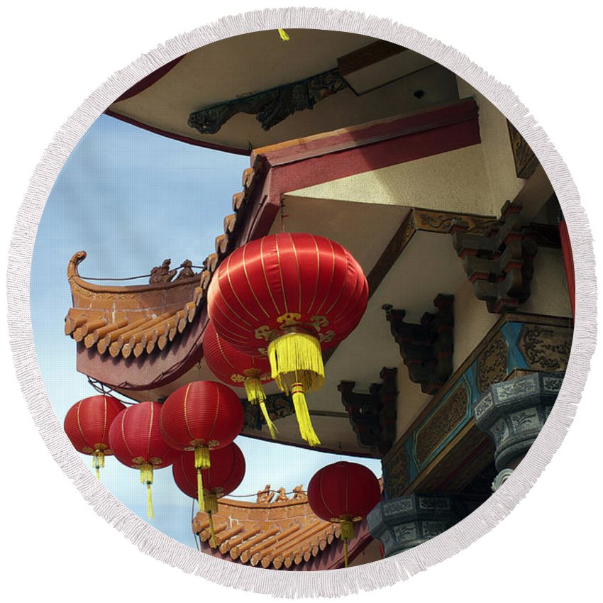 Chinese Round Beach Towel featuring the photograph New Photographic Art Print For Sale Downtown Chinatown by Toula Mavridou-Messer
