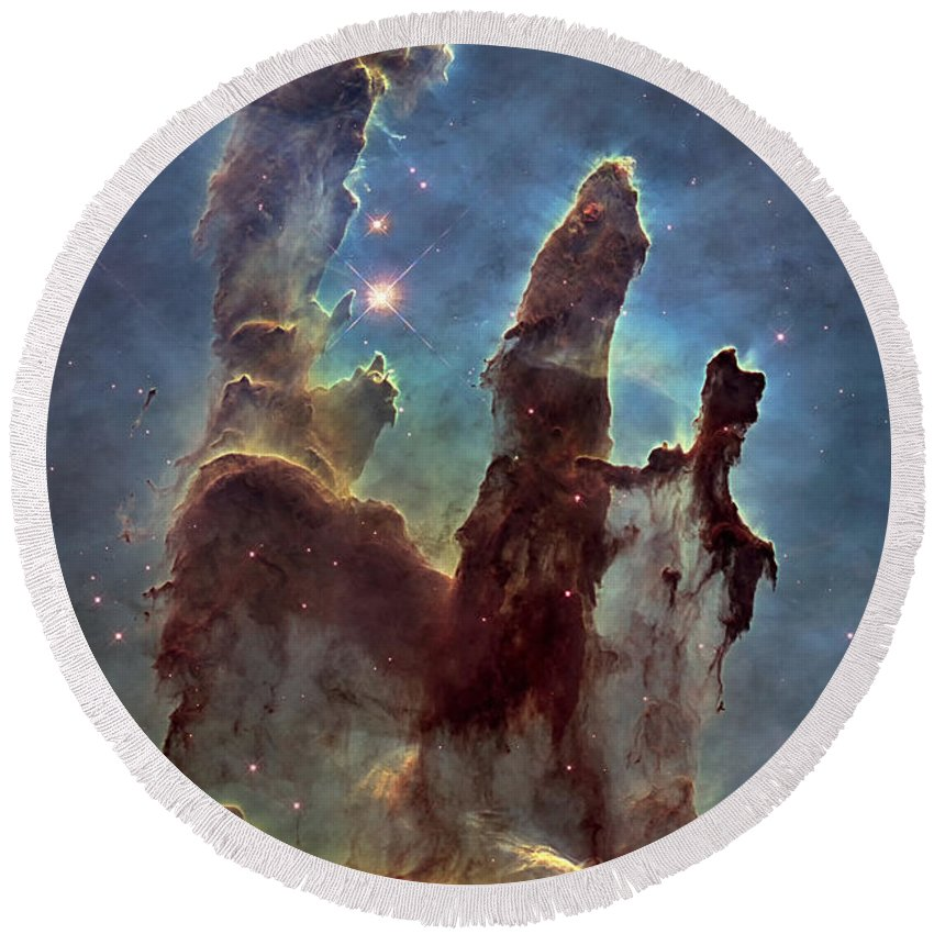 3scape Round Beach Towel featuring the photograph New Pillars Of Creation Hd Tall by Adam Romanowicz