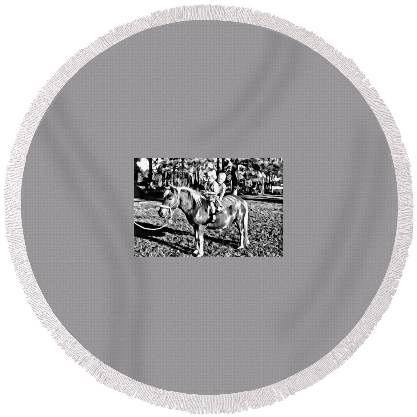 Pony Shetland Kids Bareback Horse Round Beach Towel featuring the photograph New Pony For Me by Alice Gipson