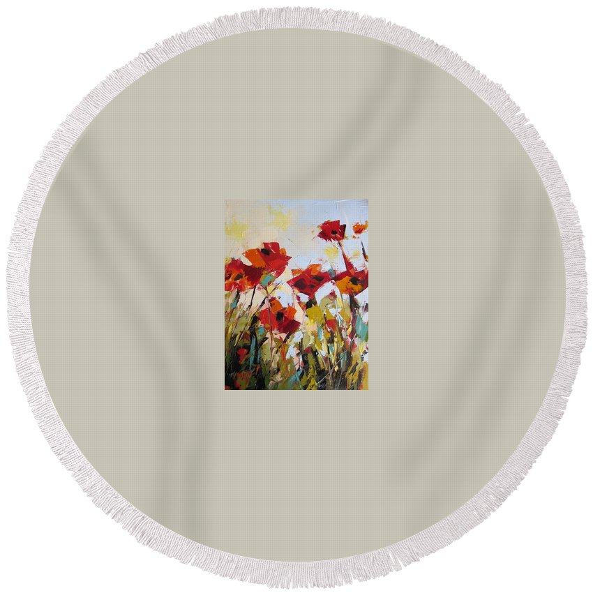 Wild Flowers Round Beach Towel featuring the painting New Poppies by Yvonne Ankerman