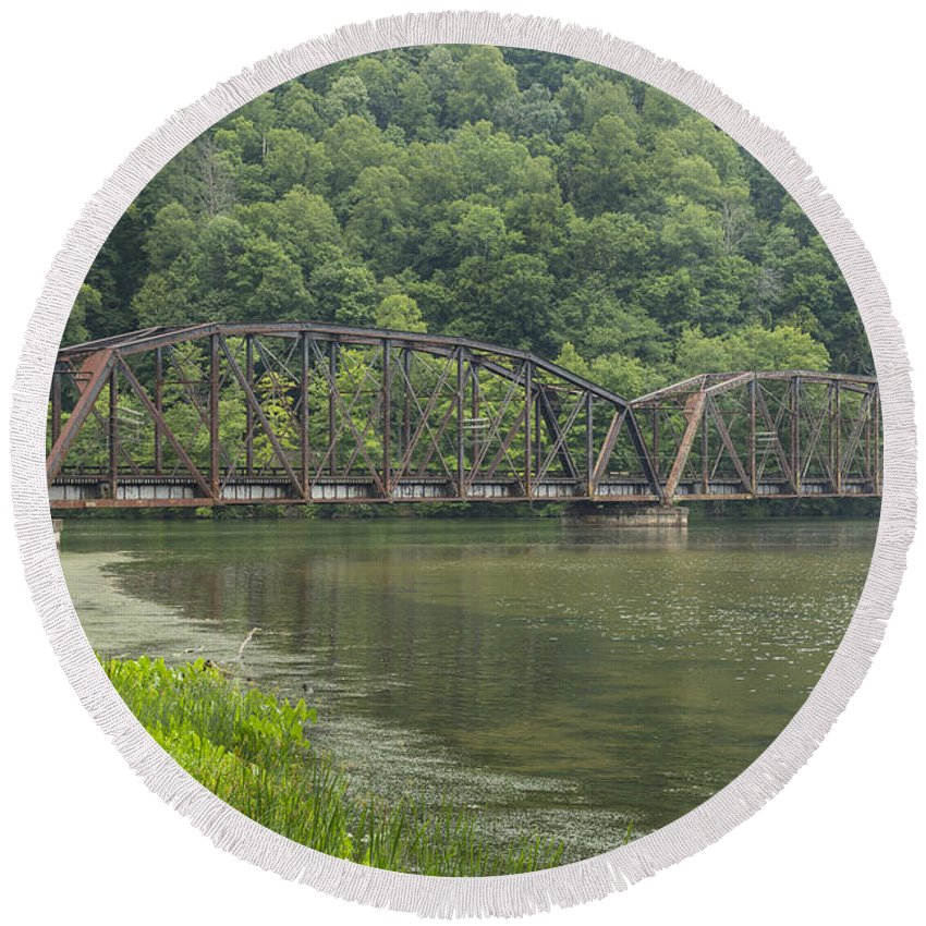 New Round Beach Towel featuring the photograph New River Scene 15 B by John Brueske