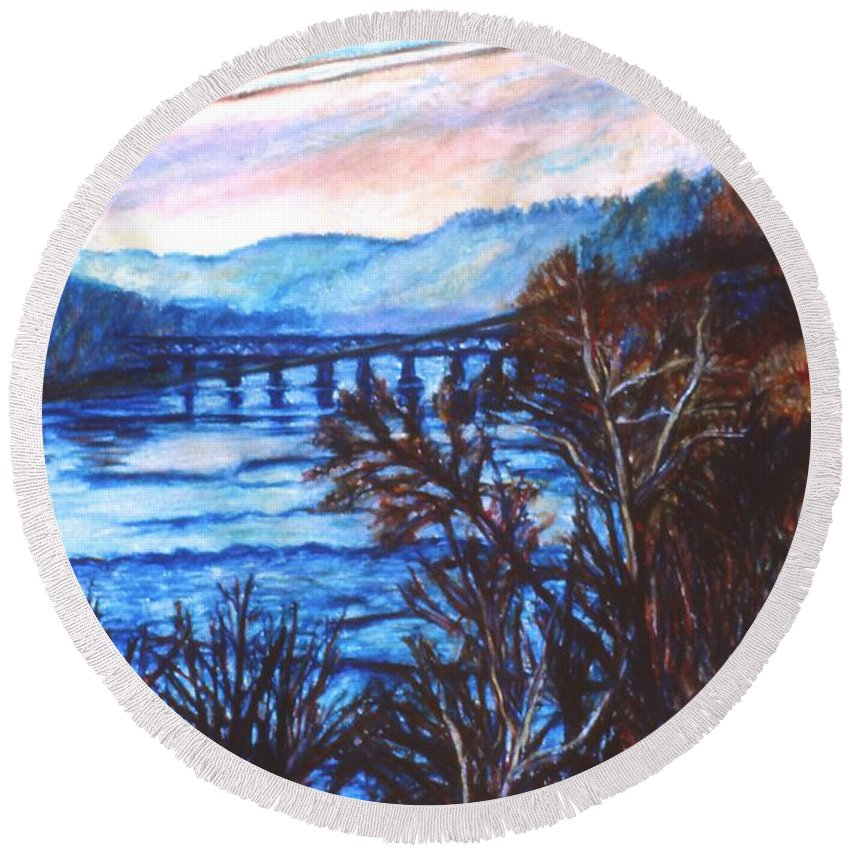 New River Trestle Round Beach Towel featuring the painting New River Trestle In Fall by Kendall Kessler