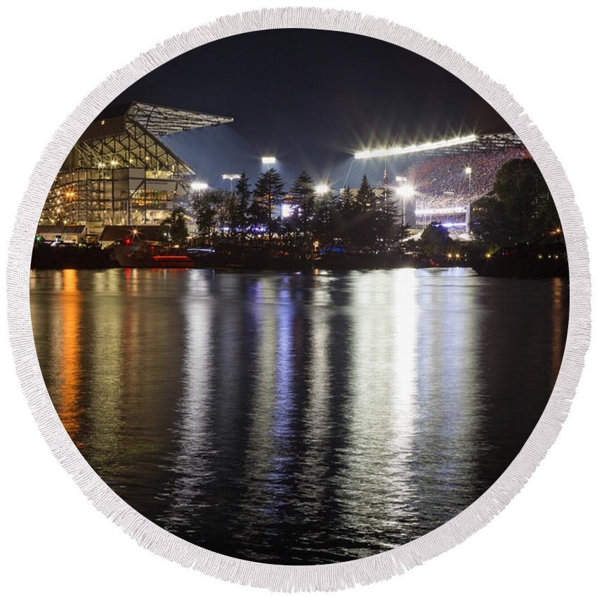Husky Stadium Round Beach Towel featuring the photograph New Husky Stadium Reflection by Max Waugh