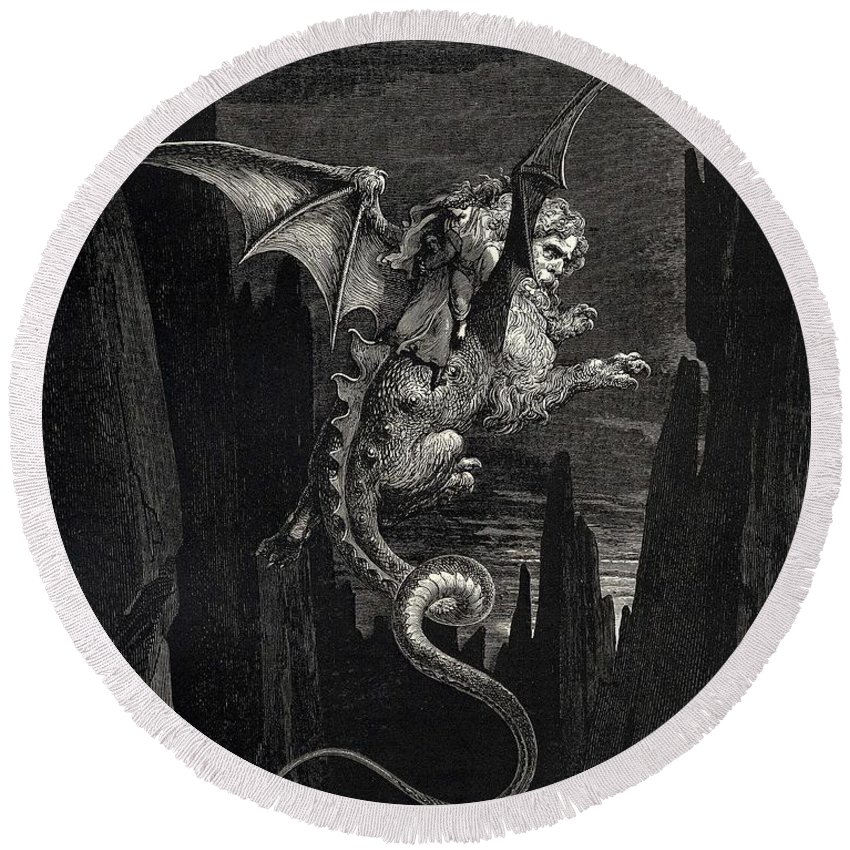 Gustave Dore Round Beach Towel featuring the digital art New Terror I Conceived From Dantes Inferno by Gustave Dore