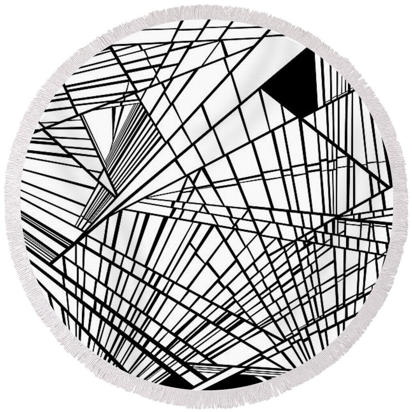 Dynamic Black And White Round Beach Towel featuring the painting New Times by Douglas Christian Larsen