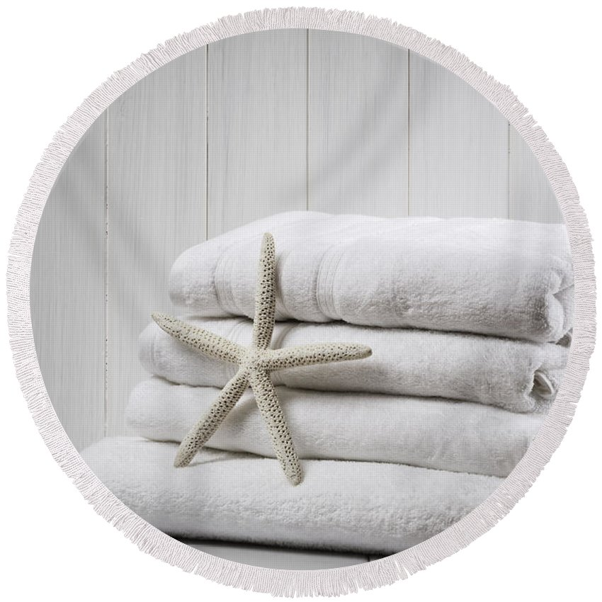 White Round Beach Towel featuring the photograph New White Towels by Amanda Elwell