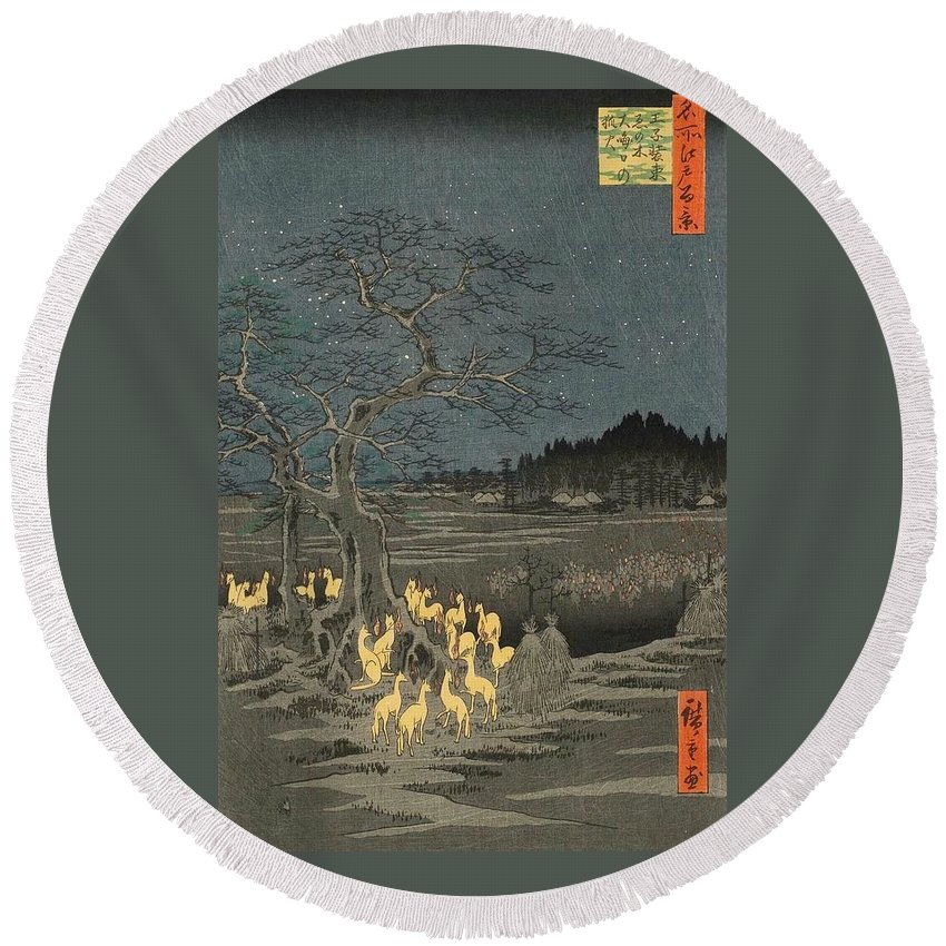 1857 Round Beach Towel featuring the painting New Year's Eve Foxfires At The Changing Tree by Utagawa Hiroshige