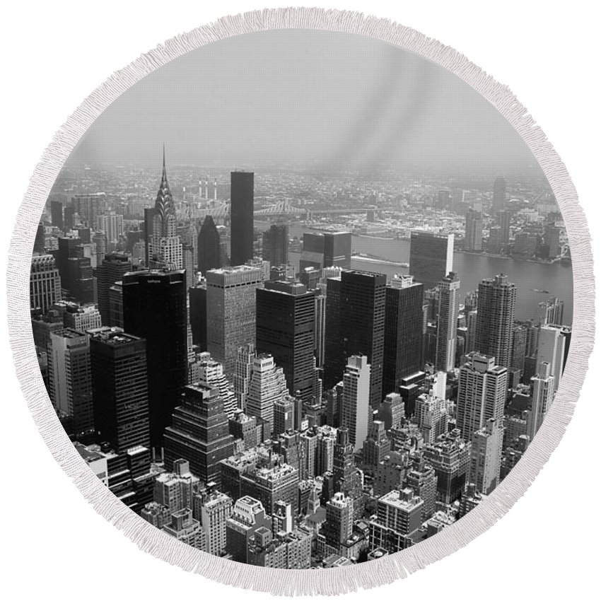 Nyc Round Beach Towel featuring the photograph New York City Black And White by Debra Forand