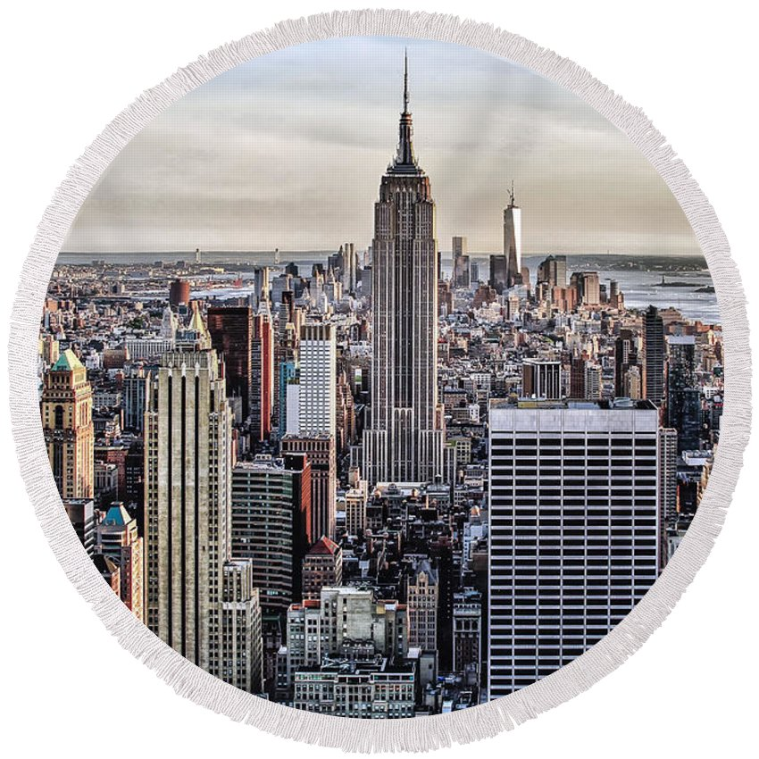 New York City Round Beach Towel featuring the photograph On Top Of The Rock by Lori Figueroa