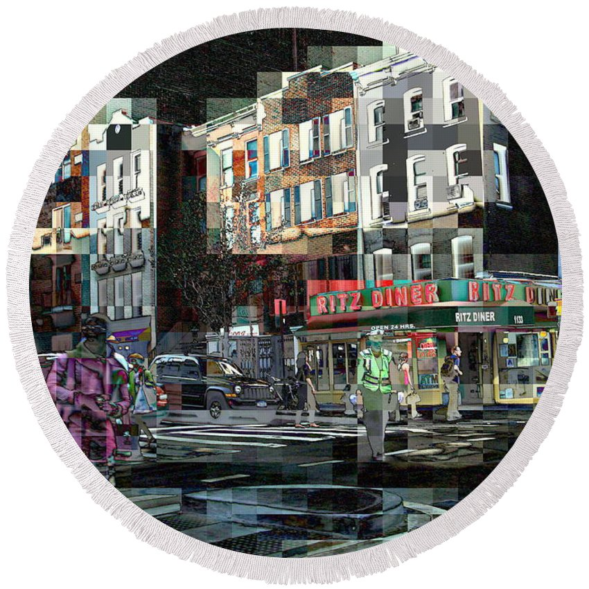 Round Beach Towel featuring the photograph New York City Streets - Ritz Diner by Miriam Danar