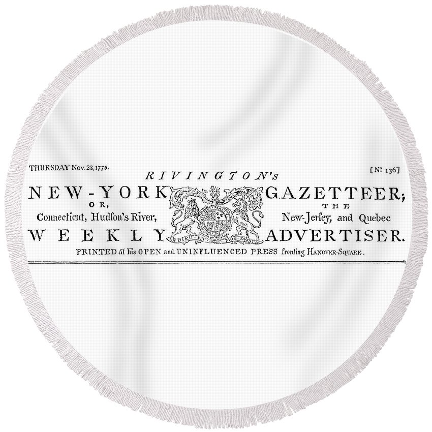 1773 Round Beach Towel featuring the painting New York Gazetteer, 1773 by Granger