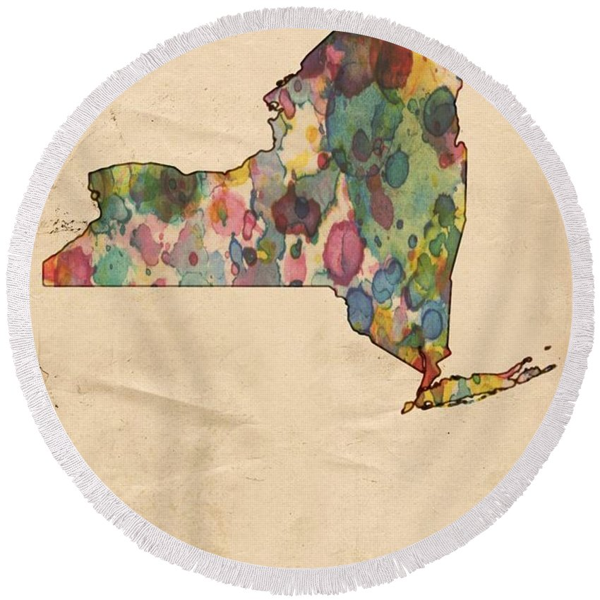New York Round Beach Towel featuring the painting New York Map Vintage Watercolor by Florian Rodarte