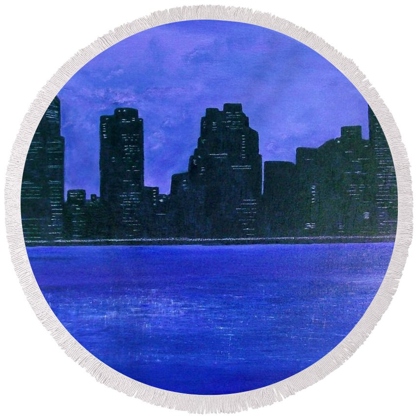Cityscape Round Beach Towel featuring the painting New York Night by Linda Wimberly