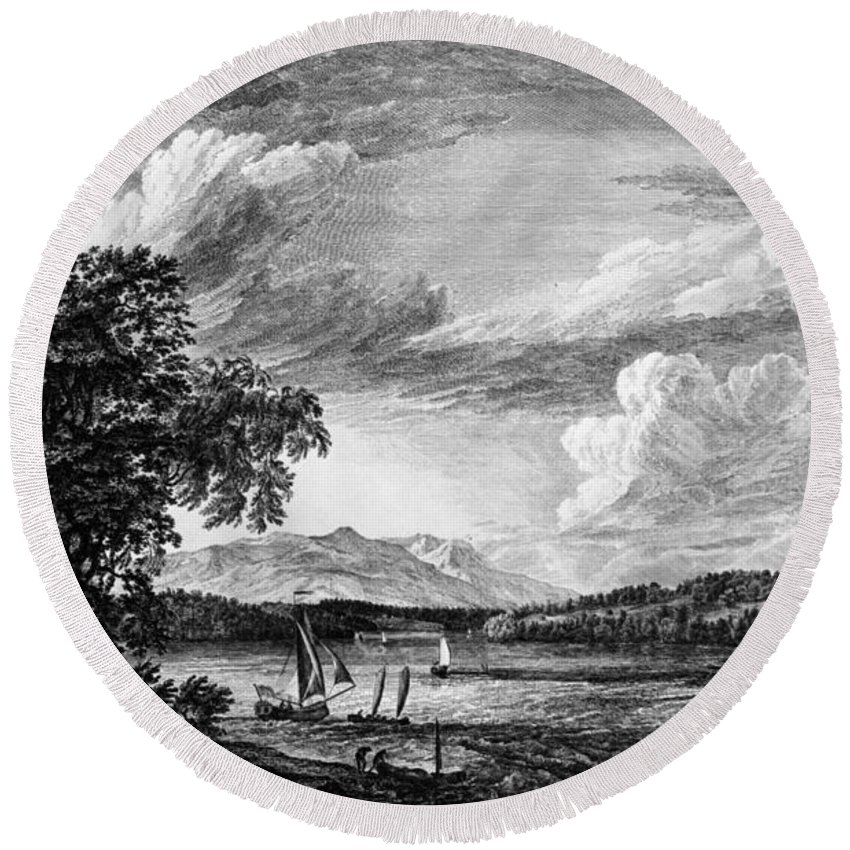 1761 Round Beach Towel featuring the painting New York Poughkeepsie by Granger