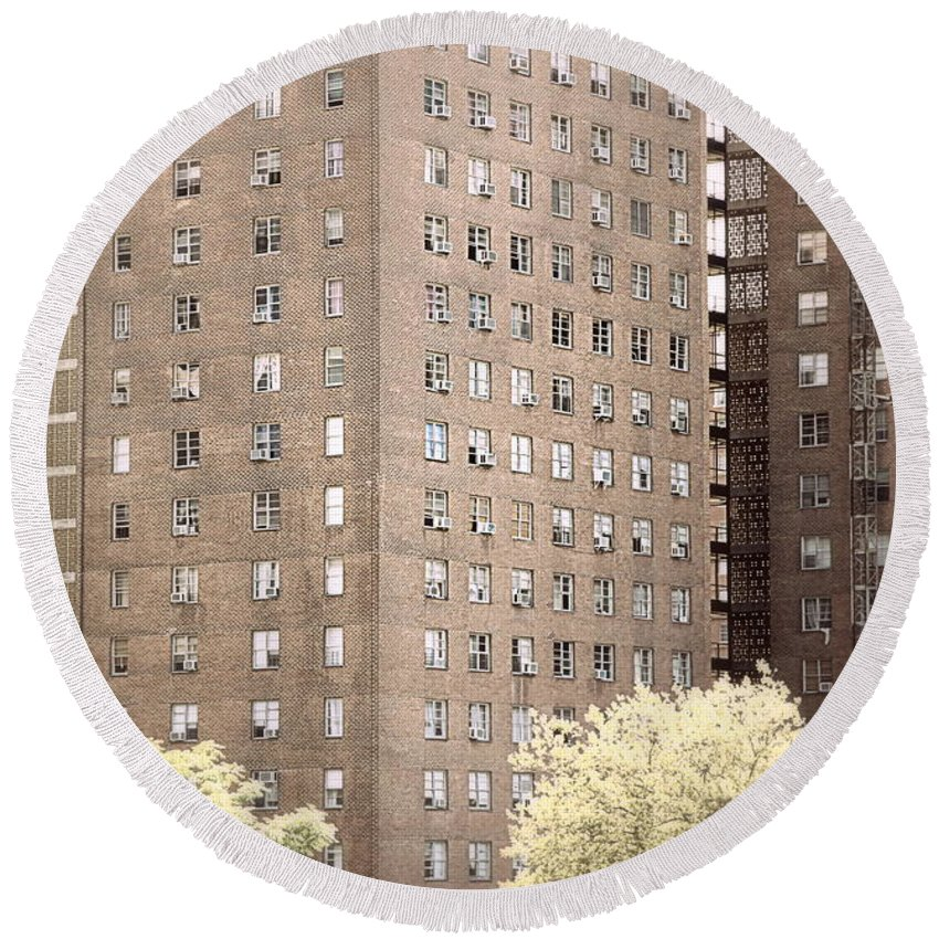 Nyc Round Beach Towel featuring the photograph New York Public Housing by Valentino Visentini