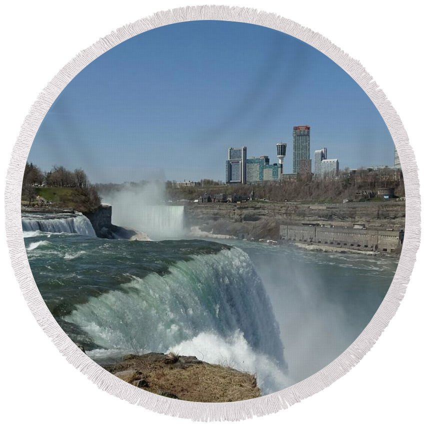 Niagara Falls Round Beach Towel featuring the photograph New York Side Of Niagara Falls by Gothicrow Images