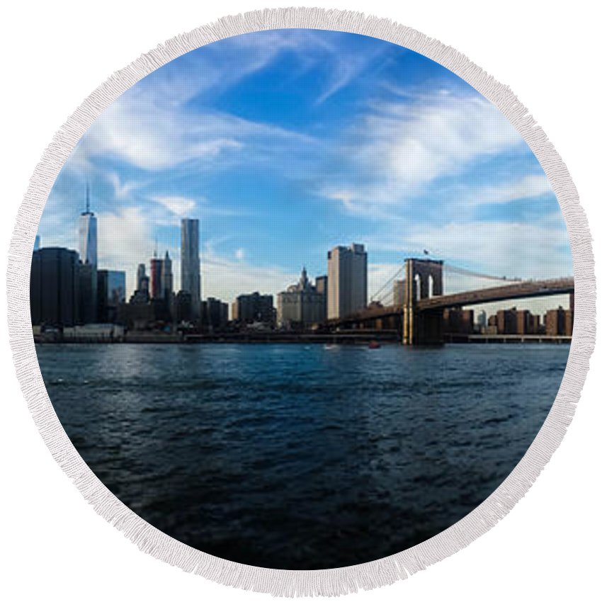 New York Round Beach Towel featuring the photograph New York Skyline - Color by Nicklas Gustafsson