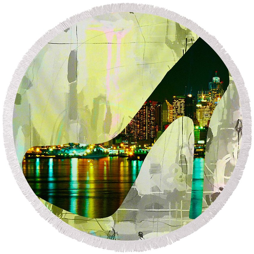 New York Digital Art Mixed Media Round Beach Towel featuring the mixed media New York Skyline In A Shoe by Marvin Blaine