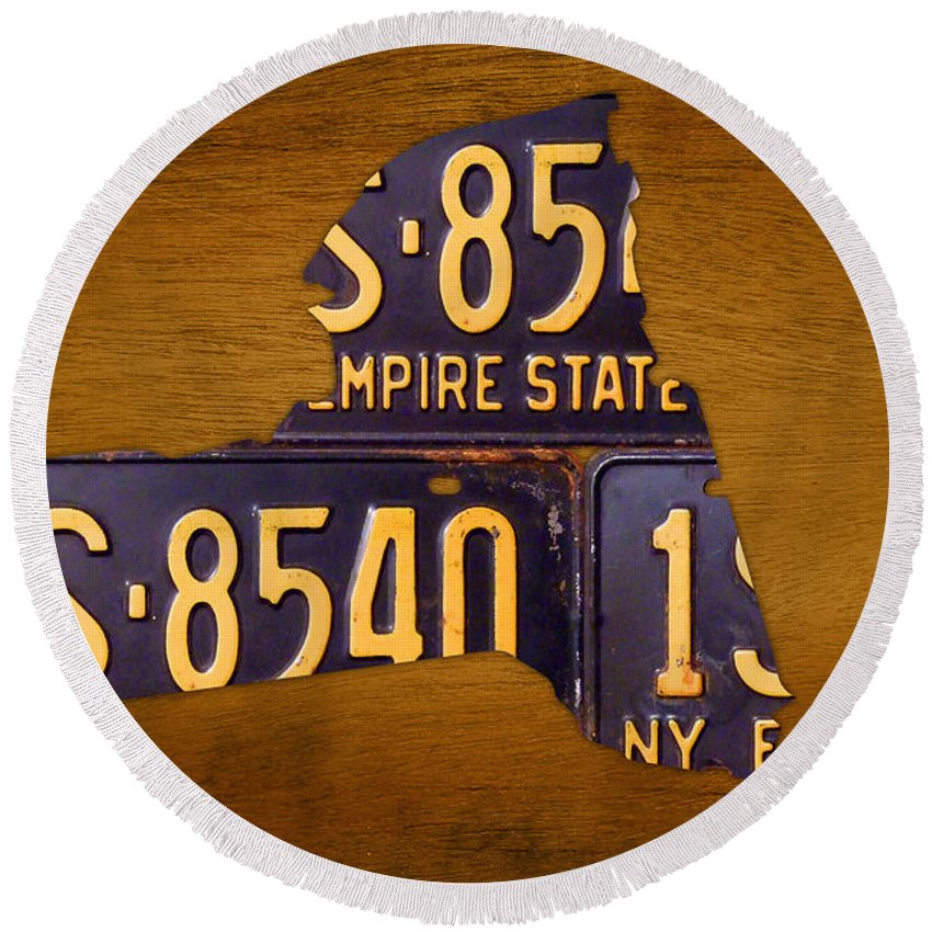 New York City Round Beach Towel featuring the mixed media New York State License Plate Map - Empire State Orange Edition by Design Turnpike