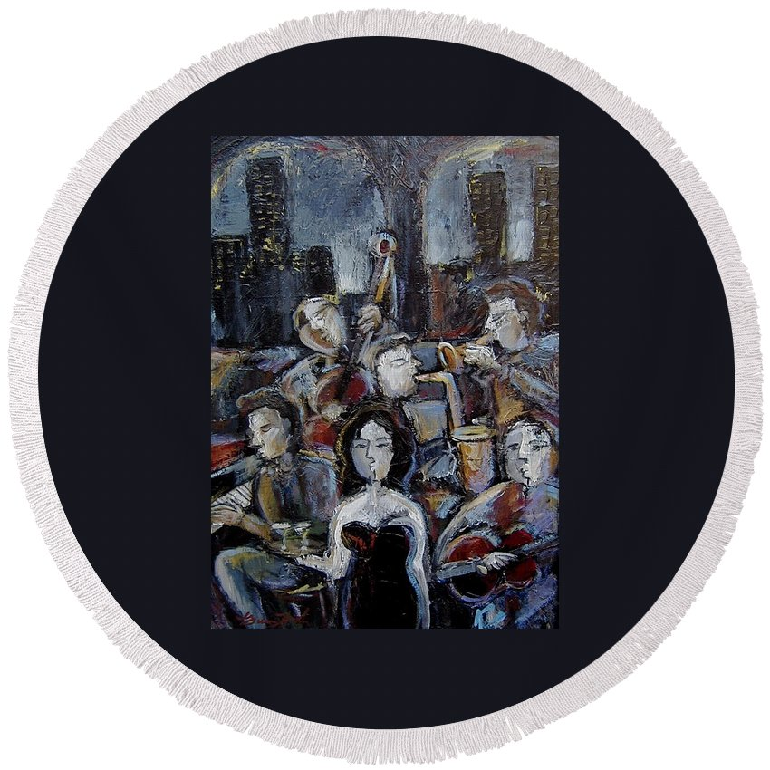 Moody Jazz Bar Round Beach Towel featuring the mixed media New York State Of Mind by Gerry High