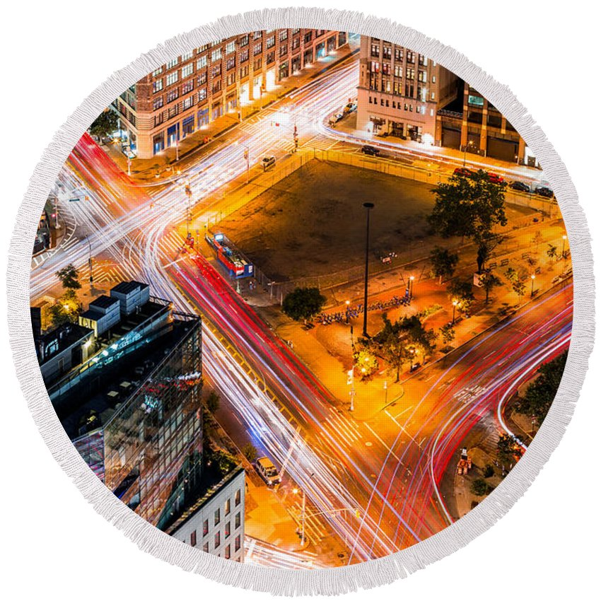 Aerial Round Beach Towel featuring the photograph New York Traffic by Mihai Andritoiu